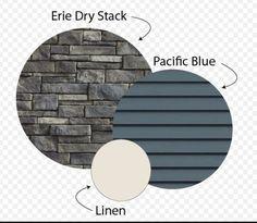 Exterior stone, siding and trim - House Colours House Paint Exterior, Exterior House Colors, Houses With Stone Exterior, Exterior Paint Colors For House With Stone, Siding Colors For Houses, Stone Veneer Siding, Blue Siding, Shingle Colors, Exterior Color Schemes