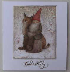 HELJE Folded Card  GNOME and LYNX Cat  Tomte Nisse Sweden FREE SHIPPING