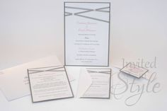 Handmade wedding invitation pack - criss-cross ribbon design with diamate accents. Soft pink and dark grey combination.