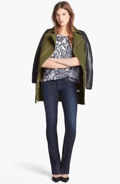 Olive/Leather/Denim: Rebecca Minkoff Coat, Trouvé Blouse & Hudson Jeans