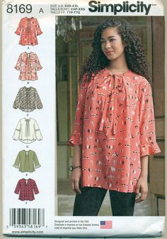 1ab8c14796e5 Simplicity 8169 Pattern Misses  Loose Fitting Tunic Or Top Size A XXS - XXL