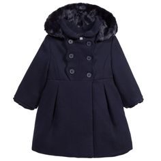 Mayoral Baby Girls Navy Blue Classic Coat with Hood at Childrensalon.com
