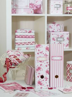 Decorative Fabric Storage Boxes - Ideas on Foter Fabric Storage Boxes, Craft Room Storage, Craft Organization, Craft Rooms, Storage Ideas, Magazine Organization, Cajas Shabby Chic, Shabby Chic Crafts, My Sewing Room