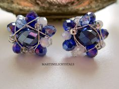 Blue Crystal Studs Swarovski Blue Rainbow by MARTINELICRYSTALS Swarovski Crystal Earrings, Blue Crystals, Studs, Diamond Earrings, Sapphire, Rainbow, Unique Jewelry, Handmade Gifts, Etsy
