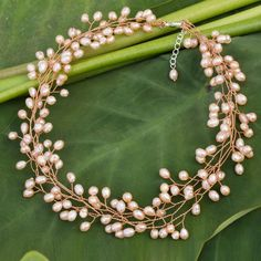 NOVICA Cultured pearl beaded necklace (4,710 INR) ❤ liked on Polyvore featuring jewelry, necklaces, brass, pearl strand, knot jewelry, freshwater cultured pearl necklace, freshwater pearl necklace, fresh water pearl necklace and clasp necklace