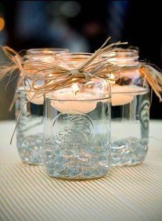 Diy Arts And Crafts, Jar Crafts, Decor Crafts, Rock Crafts, Diy Outdoor Weddings, Outdoor Wedding Decorations, Wedding Backyard, Backyard Bbq, Unique Weddings