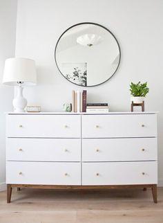to Make an Ikea Dresser Look Like a Midcentury Splurge How to turn a simple Ikea dresser into a mid-century beauty! A simple Ikea hack!How to turn a simple Ikea dresser into a mid-century beauty! A simple Ikea hack! Home Bedroom, Bedroom Decor, West Elm Bedroom, Bedroom Ideas, Bedroom Interiors, White Interiors, Decor Room, Design Bedroom, Nursery Ideas