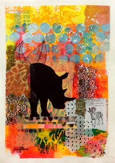 """{AVAILABLE} Mixed media collage painting: """"Unlikely Friends"""" #originalart #artforsale #jeanettehouse"""