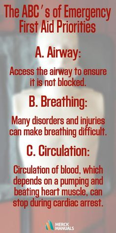 The first priority is to assess a person's airway, breathing, and circulation (the ABCs). A problem in any of these areas may be fatal if not corrected. The airway (A), which is the passage through which air travels to the lungs, can become blocked (for example, by choking on a piece of food).