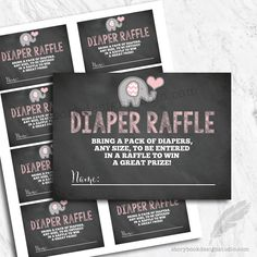 Elephant Baby Shower Diaper Raffle Tickets / Printed Set of 10  | eBay