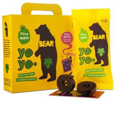 Yoyos are delicious rolls of pure fruit gently baked. Delicious Pineapple pure fruit roll. Each roll is handpicked & gently baked  and contains 1 of your 5 a day.  BEAR products are made from gently baked fruit picked in season, never from concentrate, and contain no added sugar, preservatives or stabilisers.