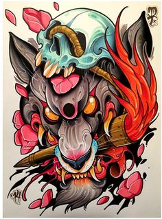awesome wolf rendered in neo-traditional style