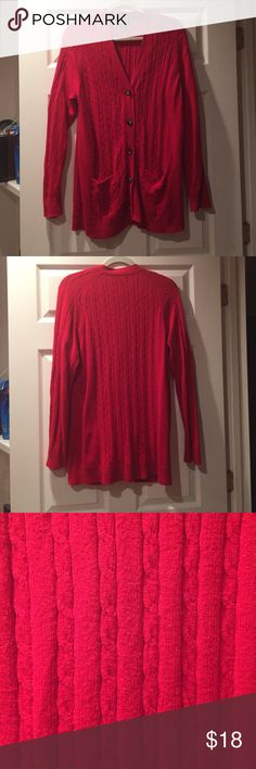 Long Cable Knit Sweater Warm and comfy cable knit! Goes great with leggings! Lands' End Sweaters Cardigans