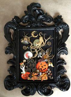 VINTAGE RHINESTONE JEWELRY FRAMED HALLOWEEN PIN TREE ART ~ CAT PUMPKIN OWL