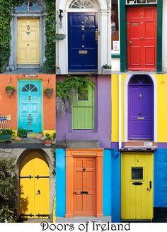 Doors of Ireland, it was a tradition to paint vibrant coloured doors, so that when the men came home from the pub they could easily find their house by the color of the door! Cool Doors, Unique Doors, Front Door Colors, Front Doors, Verde Vintage, Painted Doors, Door Knockers, Closed Doors, Doorway