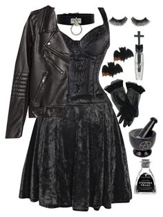 """Be yourself, by yourself."" by siennabrown ❤ liked on Polyvore featuring Boohoo, H&M, Manic Panic, Dark, goth, alternative, tradgoth and gothgoth"