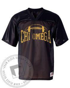 Chi Omega Football Jersey by Adam Block Design | Custom Greek Apparel & Sorority Clothes | www.adamblockdesign.com