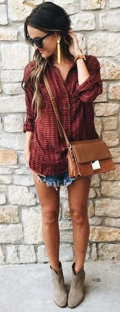 #summer #lovely #outfits |  Boho Top + Denim Shorts
