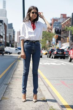 red scarf tied at neck + white oxford + high-waisted denim