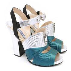 Prada - Prada Silver and Turquoise Peep Toe Sandals | Hardly Ever Worn It