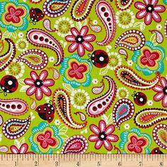 Amazon.com: Kanvas Luv Bugs Luv Bug Paisley Lime Fabric