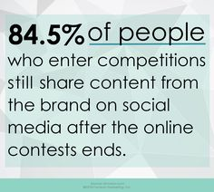 of people who enter competitions still share content from the brand on social media after the online contest ends. Tip Build your social presence with promotions like sweepstakes and photo or video contests. Enter Competitions, Online Contest, Video Contest, Word Of Mouth, Digital Marketing, Fandoms, Social Media, Content, Words