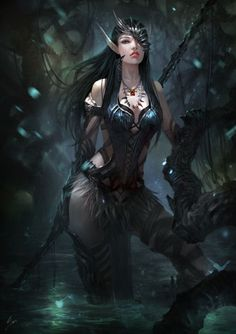 Elven assassin in a swamp | Fantasy art | Female dark elf, Theif, ninja | dungeons and dragons | characters, concept design | warrior, figher, archer
