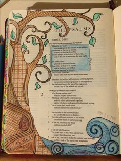 Psalms opening page with patterned tree beside still waters in journaling Bible Scripture Art, Bible Art, Bible Verses, Scriptures, Bible Study Journal, Journal Quotes, Art Journaling, Faith Bible, My Bible
