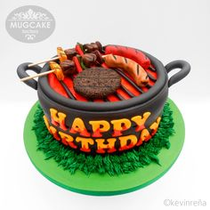 Barbecue / Grilling Themed Cake - Patty, Hotdog, Kebab & Sausage Fondant Toppers - www.facebook.com/TheMugCakeFactory