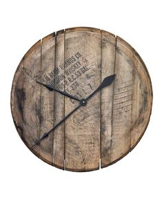 Authentic Reclaimed Bourbon Whiskey Barrel Head Clock - Comes Ready to Hang The Rustic Clock Wine Making Supplies, Wine Making Kits, Bourbon Barrel, Bourbon Whiskey, Whiskey Girl, Rustic Wall Clocks, Diy Wall Clocks, Barrel Projects, Pallet Projects