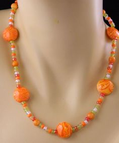 "Women's Lampwork Bead Necklace Orange 8"" Length #StrandString"
