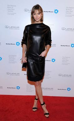 @roressclothes clothing ideas #women fashion Karlie Kloss: Fierce Black Leather Dress by Jean Paul Gaultier