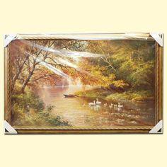 """SHOP-PARADISE.COM:  Bild """"Schwanenfamilie am Fluss"""" 60x100 cm 63,07 €"""