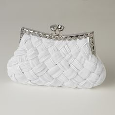 White Satin Weave Wedding Purse with Crystal Frame. So gorgeous!