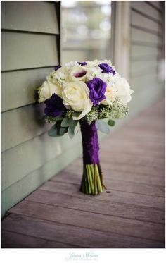 McDaniel College wedding Carroll County Maryland Farm Museum Reception. #JennaShriverPhotography Purple wedding and white rose bouquet