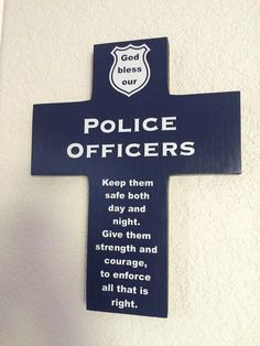 Police Officers cross handmade wood wall with blessing and God bless, Gift for officer or station -Support Blue Cop Quotes, Random Quotes, Police Life, Police Family, Police Cars, Police Lives Matter, Police Officer Gifts, H & M Home, Wood Crosses