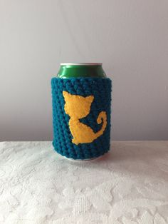 Gold Cat Cozy in Teal for a Cat Lover, Crochet Beer Koozie, Reusable Crochet Coffee Sleeve, Coffee Cup Cozy by Maroozi by Maroozi on Etsy