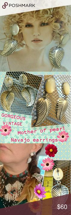 """🍃Native American Mother of Pearl & Leaf earrings Mother of pearl stone """"..signifies faith, charity, and innocence, enhances personal integrity, and helps to provide focus to ones attention.."""" (according to description of the healing properties of stones used in Native American jewelry by Sacred Bear [online] ). """"The leaf is a symbol of wealth""""(according to Support Native American Art [online]).✨🍃✨These sterling dangle earrings are elegant ✨ stylish ✨ chic. They measure a little over an…"""