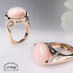 Anello Corallo Rosa e Diamanti - Ring with Pink Coral and Diamonds - Silvia…