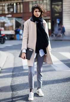 Stay warm this winter with cozy layers: structured coat + oversized black scarf + classic grey trousers