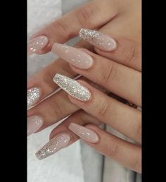 24 Cute and Awesome Acrylic Nails Design Ideas for 2019 - Page 2 of 24 - Nageldesign - Nail Art - Nagellack - Nail Polish - Nailart - Nails - Best Acrylic Nails, Cute Acrylic Nails, Cute Nails, Pretty Nails, Glitter Nails, Wedding Acrylic Nails, Acrylic Nail Designs Glitter, Fancy Nails, Acrylic Art