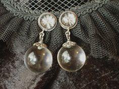 Antique Art Deco earrings pools of light silver filigree & 14k gold screw…