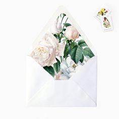 White Blush Floral Flower Leaves Envelope by GreyberryDesign