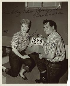"""Lucy and Desi, 1954 on the set of """"The long, long trailer. Love them and this movie"""
