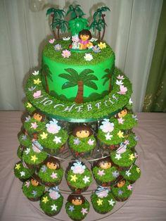 Dora Birthday Cake - Dora the explore cupcake set up