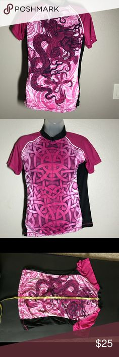 YMX cycling Jersey - M - dragon pattern Great super lightweight cycling/ exercise jersey.  Dragon on back with three pockets.  Interesting patter on front.  Barely worn since I tore a ligament cycling and never wanted to get on my bike again. YMX Yellowman Tops Tees - Short Sleeve