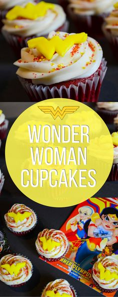 Wonder Woman red velvet cupcakes with cream cheese icing!!!