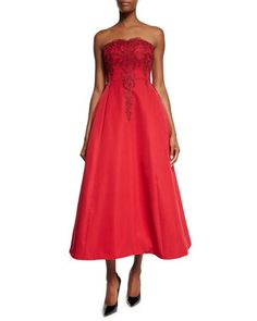 Strapless Beaded-Bodice Midi Gown  by Marchesa Notte at Neiman Marcus.