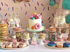 """Donut-inspired dessert table from a """"Donut"""" Grow Up Birthday Party First Birthday Party Themes, Donut Birthday Parties, 2nd Birthday, Birthday Ideas, Donut Party, Beignets, Grown Up Parties, Sprinkle Party, Festa Party"""