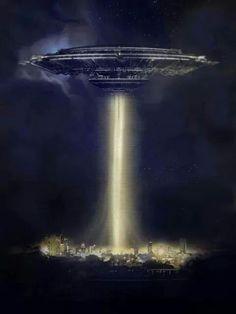 A very BIG flying saucer. Aliens Und Ufos, Ancient Aliens, Arte Sci Fi, Sci Fi Art, Alien Photos, Alien Aesthetic, Grey Alien, Spaceship Art, Alien Abduction